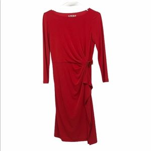 Eliza J red ruched gathered gold 3/4 sleeve dress